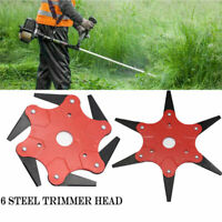 6 Steel Outdoor Trimmer Head Blades Razors Lawn Mower Grass Weed Cutter