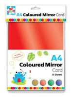 PACK 8 A4 SHEETS THICK METALLIC COLOURED MIRROR CARD RED GOLD GREEN BLUE PVI