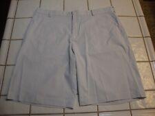 Nike Golf Shorts Dri Fit Polyester Spandex White Gray Striped Mens Size 38