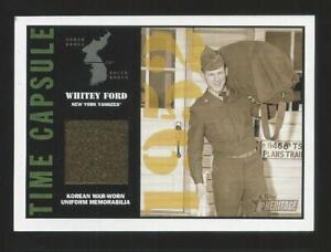 2001 Topps Heritage Whitey Ford Yankees Time Capsule Korean War Uniform Relic Sp