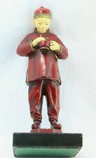 Antique 1930s Spelter Figurine, Qing-Era Chinese Manchu w/Queue