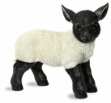 Large Black and White Standing Lamb Garden Ornament - Statue