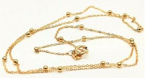 """9CT GOLD CHAIN 16"""" FLAT TRACE BEAD BALL CHAIN 9 CARAT YELLOW GOLD NEW NECKLACE"""