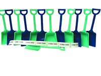 12 Toy Plastic Shovels( 6 ea Green & Blue) & 12 I Dig You Stickers Mfg USA
