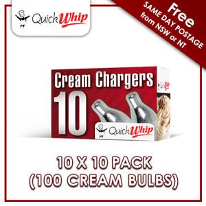 100 Cream Chargers QuickWhip - 10 PACK X 10 (100 BULBS) - Pure Nitrous Oxide N2O