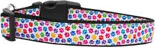 Dog Collar Pet Nylon Adjustable - Rainbow Paw Print - Medium - 25-45cm