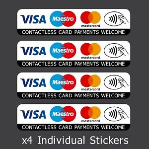4x Contactless Credit Card VISA Mastercard Maestro Payments Stickers Taxi Shop