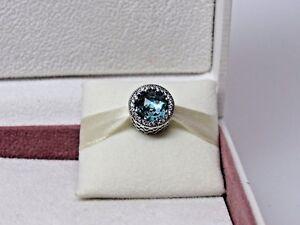 Radiante Corazones 925 Plata Encanto Azul de Circonio Cúbico Cristal