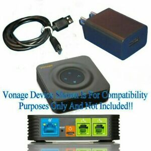 Power Supply USB Adapter Wall Charger + 3' M Cable FOR Vonage HT802 POHNE System