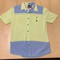 Vintage Volcom Button Down Short Sleeve Shirt Slim Fit Men's Size M Blue/ Yellow