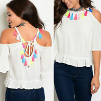 Cut Out Cold Off Shoulder Frill Ruffle Blouse Fringe Boho Top Shirt Size 8 10 12