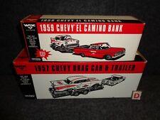 WIX 1959 CHEVROLET EL CAMINO & 1957 CHEVY DRAG CAR & TRAILER ERTL DIE CAST SET-D