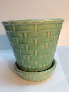 Vintage McCoy Basketweave Green Flower Pot