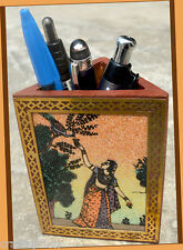 Gemstone Painting Designer Wooden pen pencil  holder from Craft Options India!