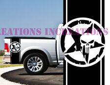 Punisher Skull Dodge Chevy  Bed Stripes Truck Stickers Decals Set of 2 Racing