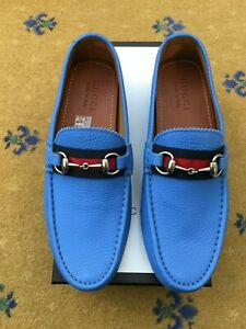 New Gucci Mens Shoes Blue Leather Horsebit Loafers Drivers UK 6 US 7 40 Web Red