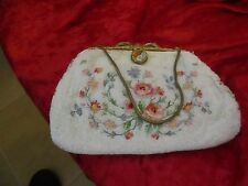 Joyce Morgan Paris Evening Purse Silk Beaded Cream Embroidered Flowers Vintage
