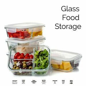 Glass Storage Food Containers Clip Lids Divided Lunch Boxes Airtight Meal Prep
