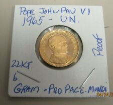 Gold 1965 United Nations Pope John Paul VI Proof Gold Coin 22KT 6 Grams