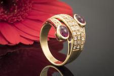 Schmuck Rubin Ring 2 Rubine im Cabochon Schliff mit Diamanten in 750er Gelbgold