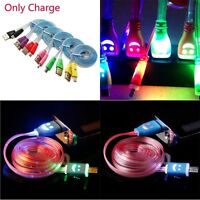Cord Flat Light-up Micro USB LED Charger Cable For Android Phones Smile Face