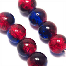 Lot de 30 perles Craquelées en Verre 8mm bicolore Bleu Rouge