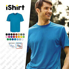 MENS TEE SHIRT 100% POLYESTER COOL DRY BREATHABLE PLAIN COLOUR CLASSIC TEES
