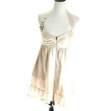 Guess Marciano Babydoll Dress Ivory Beige 100% Silk Halter Party Cocktail Zip S