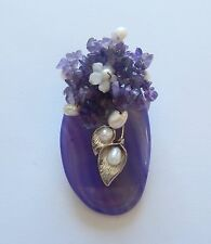 Pendant/Pin- Purple Agate- oval- flowers - white pearls - silver leaves unique