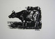 Fiszel Zylberberg Zber: Cow / RARE Jewish Polish Holocaust Woodcut Animals