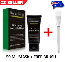 Blackhead Remover Nose Face Mask Strip Black Head Pore Acne Clean Mud + Brush ✔