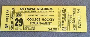 Great Lakes Invitational College Hockey Tournament Unused Ticket 12/29/77