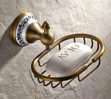 Antique Porcelain Base Wall Mount Brass Bathroom Soap Dish Holder Basket qba409