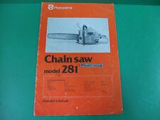 Husqvarna motosega manuale uso manutenzione chain saw operator's manual 281