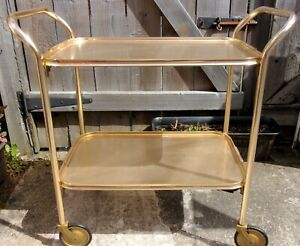 Vintage Hostess Trolley ~Gold Retro 60s Bar Drinks Cart ~2 Tier CAREFREE England