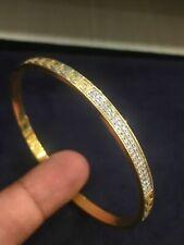Pave 1.45 TCW Round Brilliant Cut Diamonds Bangle Bracelet In 750 Fine 18K Gold