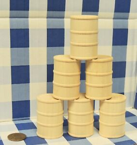 G SCALE SET of 6 OIL DRUMS (WOOD UNFINISHED )1/24 DIORAMA TRAIN CARGO