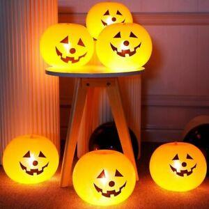 5Pcs Halloween Pumpkin LED Light Up Balloons Glow In Dark Props Lantern Latex d
