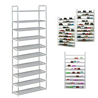 Perfect 10 Tier Shelf Shoe Storage Rack Organiser for 60 Pairs of Shoes