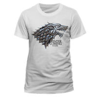 Official Game Of Thrones Stark Crest T Shirt Mens Sigil Winter Is Coming White