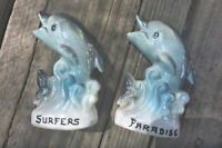 CUTE VINTAGE RETRO KITCH SURFERS PARADISE DOLPHINS SALT AND PEPPER SHAKERS