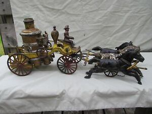 """Late 1800's Large CAST IRON HORSE DRAWN TOY FIRE PUMPER WAGON / 20"""" in Length"""