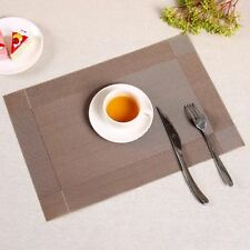 6pcs Brown Vinyl PVC Placemat Dining Table Rectangle Mat elegant placemat