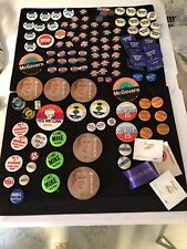 90+ Vintage political & other buttons Lbj, Wallace, Humphrey, Mcgovern, Cabell