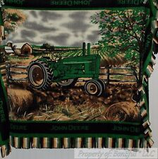 BonEful FABRIC Fleece Blanket Quilt LARGE Throw 48X60 John Deere Farm Tractor NR