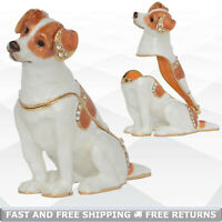Jack Russell Terrier Dog Trinket Box with Hinged Lid Enameled Bejeweled Crystals