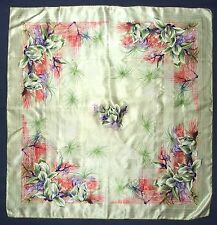 """Vintage FLORAL Abstract YELLOW Pink Purple Green Jacquard Satin Silk 30"""" Scarf"""