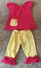 Hair Bow Company Pink Yellow Polka Dot Boutique Outfit Capri Pants Top 3T-5T