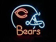 """New Chicago Bears Helmet Neon Light Sign 20""""x16"""" Beer Gift Bar Lamp Glass"""