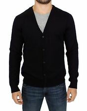 NEW $360 GALLIANO Dark Blue Wool Blend Button Down Cardigan Sweater Top s. XXL